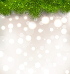 Christmas light background with realistic fir vector image vector image