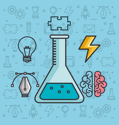 Creative solution science brain knowledge vector