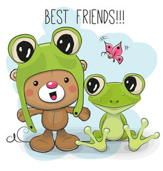 Cute bear and frog vector