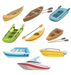 Different types of boats colorful set vector