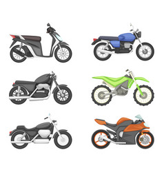 different types of motorcycles set vector image vector image