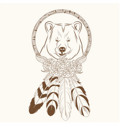 Dream catcher with bear feathers hipster vector