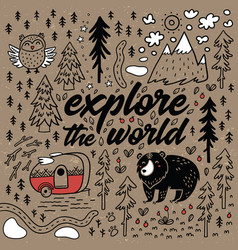 Explore the world cartoon map comic card vector