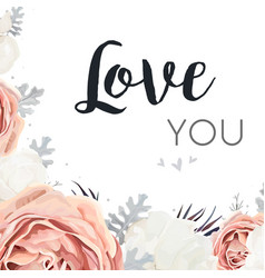 floral design card pink peach garden rose white vector image vector image