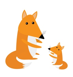 Fox mother and baby cute cartoon character set vector