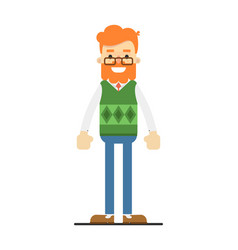 Happy redheaded bearded hipster character vector