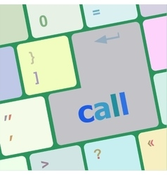 Keyboard - white key Call with arrow vector image