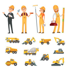 male and female characters of builders and vector image