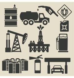 oil production industry icons set vector image vector image