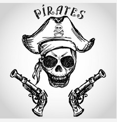 Pirate skull with hat and pistols vector