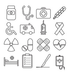 set of medical line icon vector image vector image