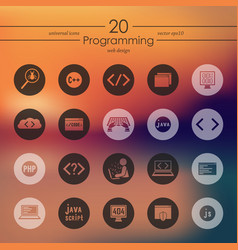 set of programming icons vector image vector image