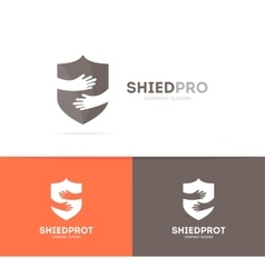 Shield and hands logo combination security vector