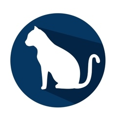 Silhouette cat with shadow and blue circle vector