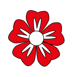Single red flower icon image vector