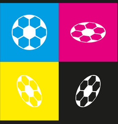 soccer ball sign white icon with vector image