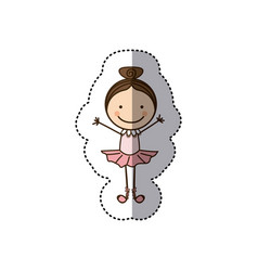 Sticker colorful caricature caricature girl ballet vector