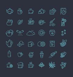 tea icon set thin line vector image