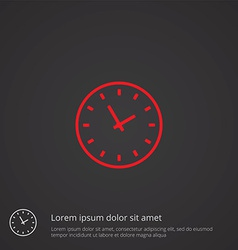Time outline symbol red on dark background logo vector
