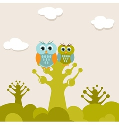 Two cute owls on the tree branch vector image vector image