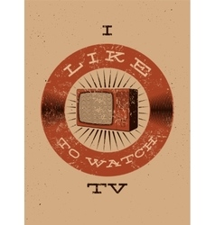 Typographic retro grunge TV poster vector image