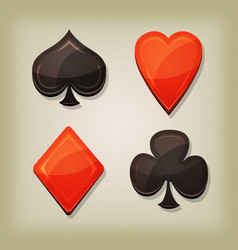 Vintage retro gambling cards icons vector