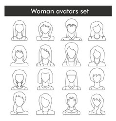 Woman avatars set in black line style vector