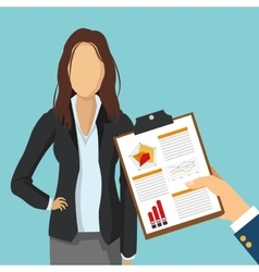 Businesswoman document human resources icon vector