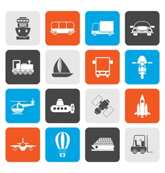 Flat transportation travel and shipment icons vector