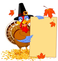 Thanksgiving turkey with holiday note vector
