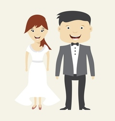 Bride and groom wedding icon vector