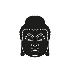 Black head of Buddha with Om mantra isolated vector image