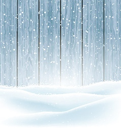 Winter snow on wood background 3009 vector