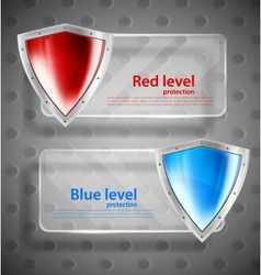 Set of banner with shields vector