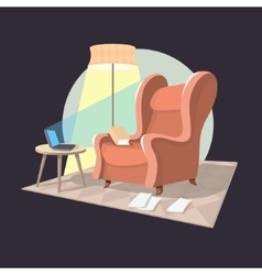 Writer home workplace armchair coffee table vector