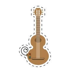 Guitar musical instrument icon dotted line vector