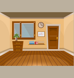 Cartoon flat interior office room in beige style vector