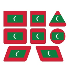 Buttons with flag of maldives vector