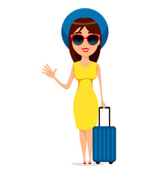 young woman go travel standing with suitcase and vector image