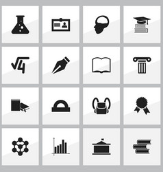 Set of 16 editable education icons includes vector