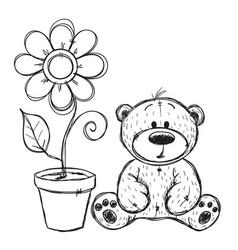 drawn teddy bear with flower vector image