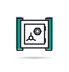 line icon - banking safe vector image