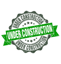 Under construction stamp sign seal vector