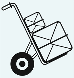 Box on sack truck vector