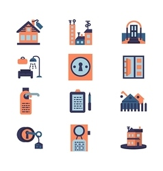 Rent of residential property flat icons vector