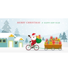 Santa claus cycling bicycles with gift in cart vector