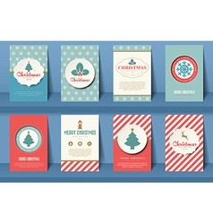 Set of christmas brochures in vintage style vector