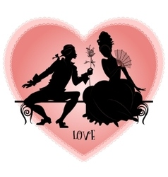 Vintage silhouettes on a bench vector