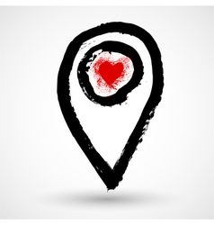 Gps icon with heart vector