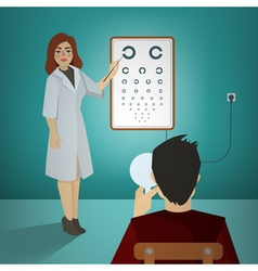 Woman ophthalmologist examining patient vector